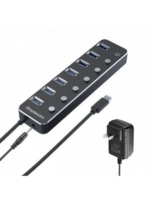 Simplecom CH375PS Aluminium 7 Port USB 3.0 Hub with Individual Switches and Power Adapter