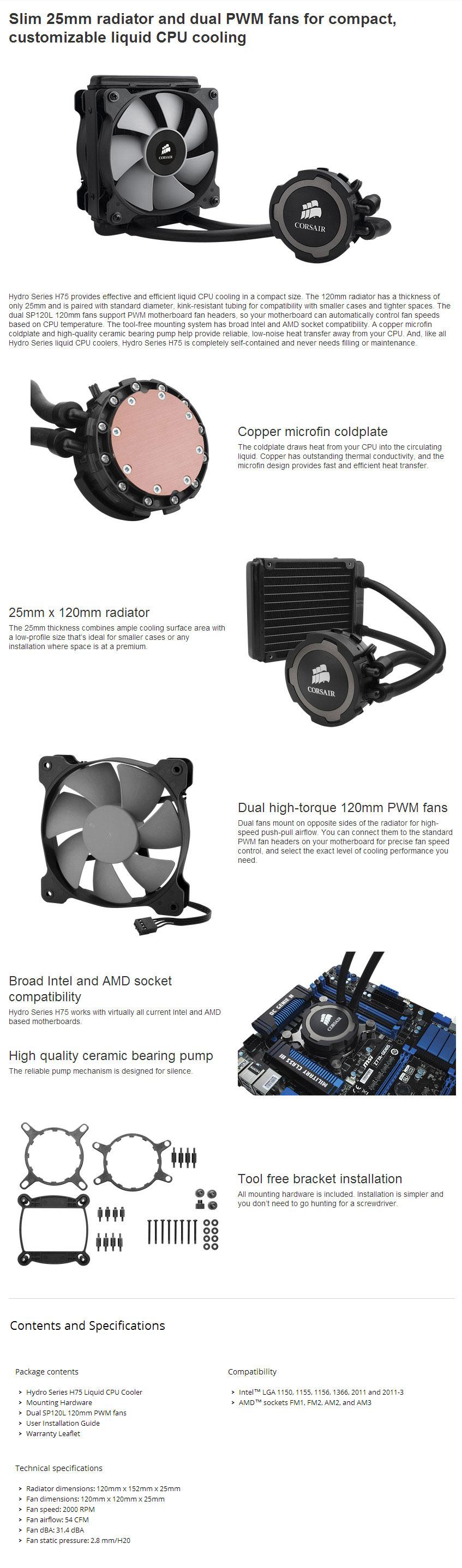 Corsair Hydro Series H75 120mm Liquid CPU Cooler