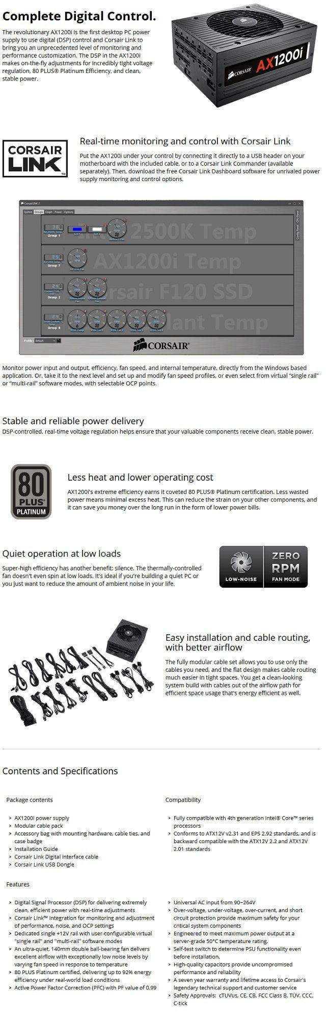 Corsair AX1200i Platinum ATX Power Supply