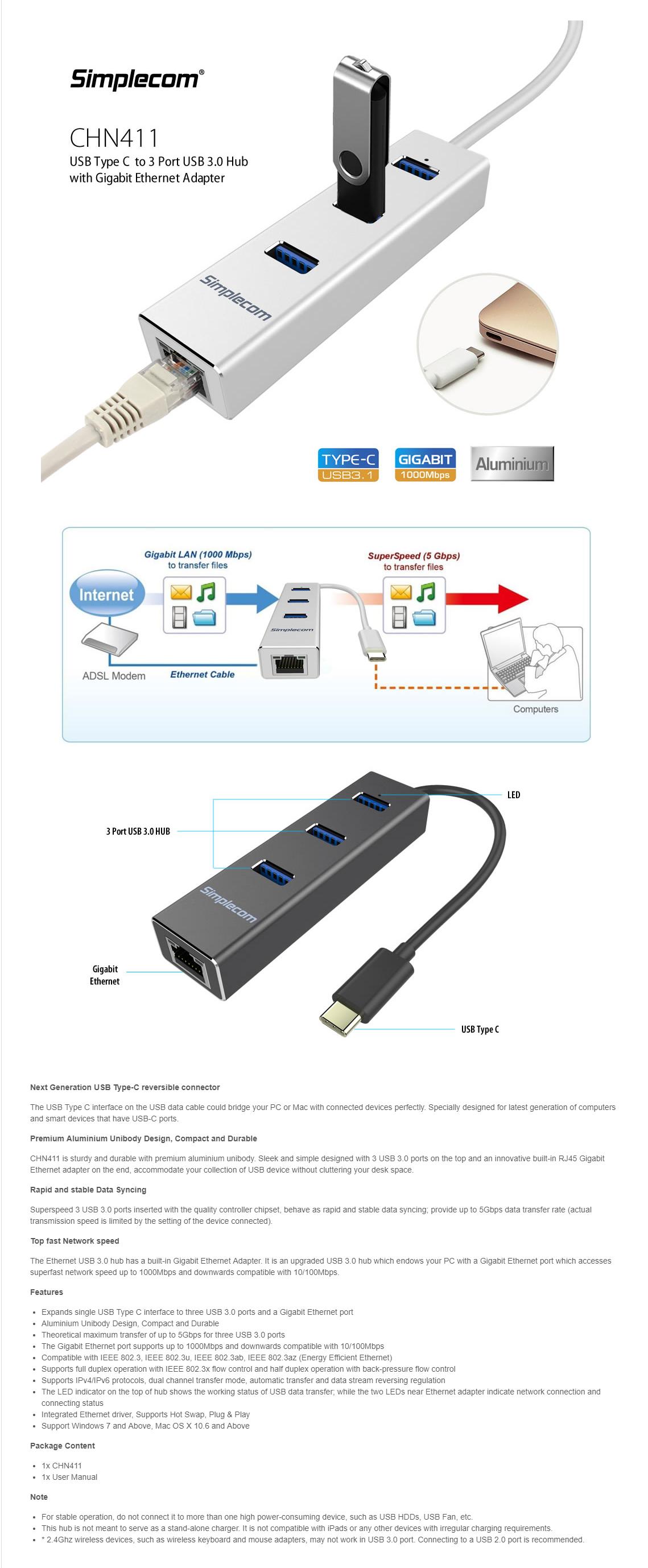 Simplecom CHN411 Aluminium USB Type C to 3 Port USB 3 0 Hub with Gigabit  Ethernet Adapter