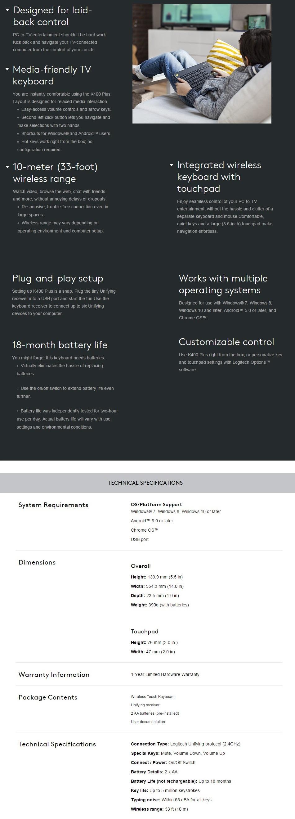 Logitech K400 Plus Wireless Touch Keyboard Black