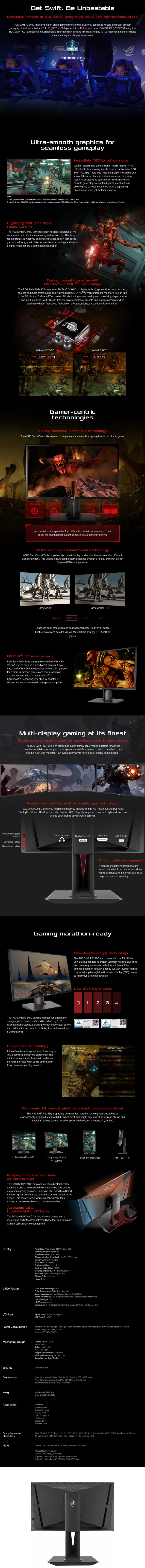 ASUS PG248Q ROG Swift 24in G-SYNC 180Hz Gaming Monitor