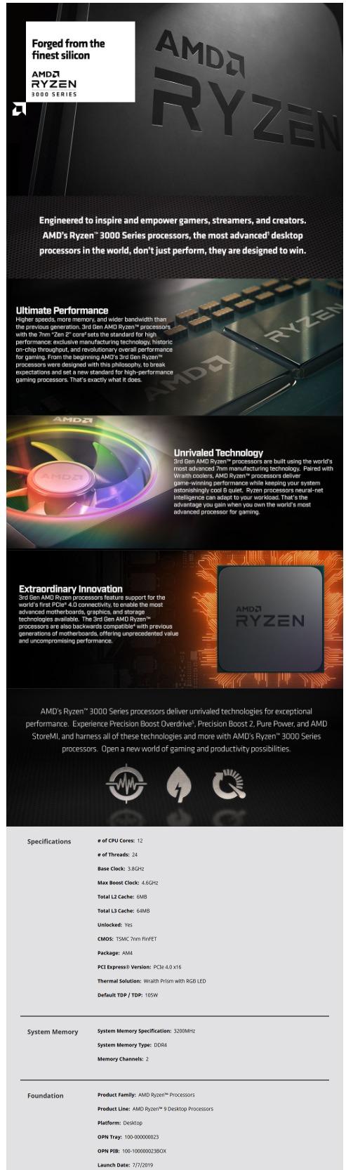 AMD Ryzen 9 3900X with Wraith Prism