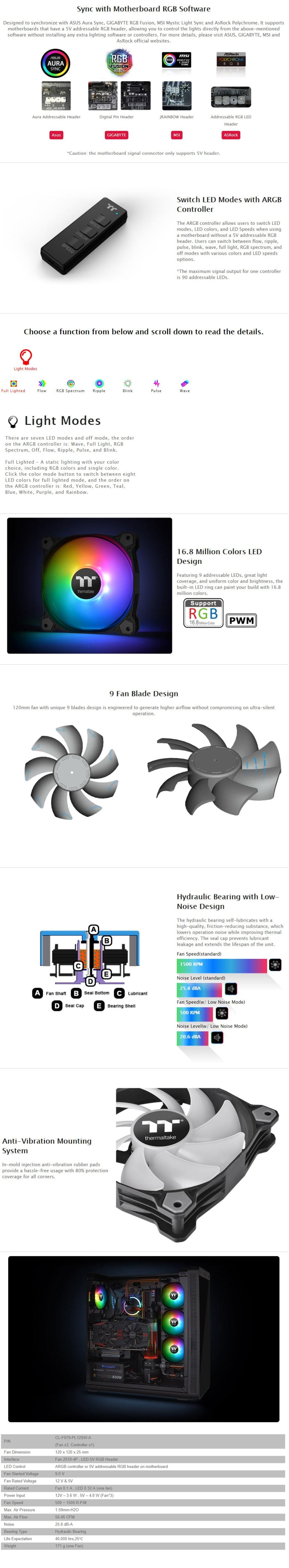 Thermaltake Pure 12 ARGB Sync Radiator Fan 120mm 3 Pack