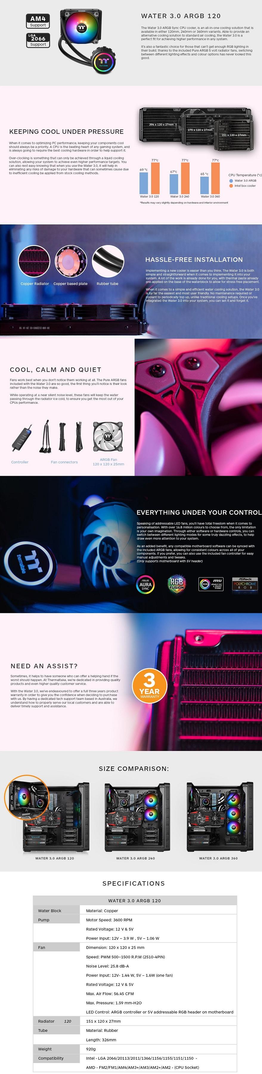Thermaltake Water 3 0 120mm ARGB Sync AIO CPU Cooler
