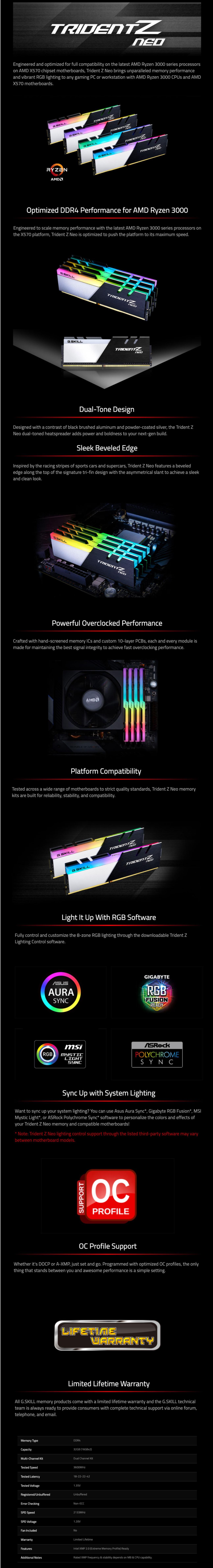 G Skill Trident Z Neo F4-3600C16D-32GTZNC 32GB (2x16GB) DDR4