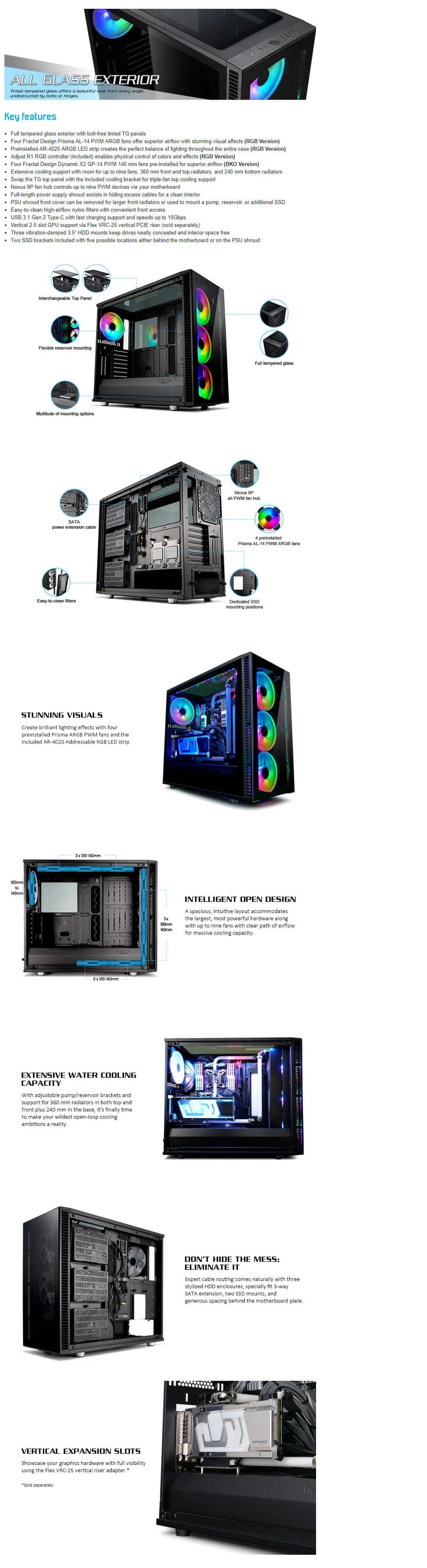 Fractal Design Define S2 Vision RGB Blackout ATX Case, T/G Window